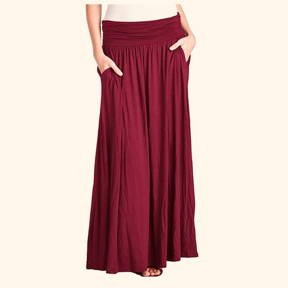 24d13ffe1 Trendy united Skirts | Burgundy Maxi Skirt With Pockets | Poshmark